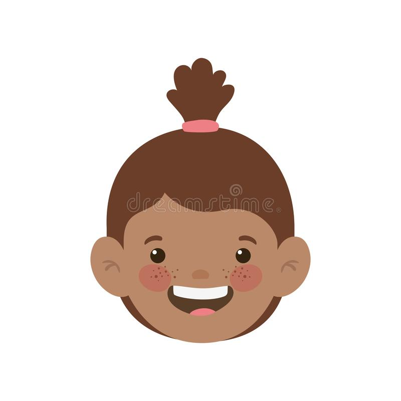 Head of baby girl smiling with white background royalty free illustration