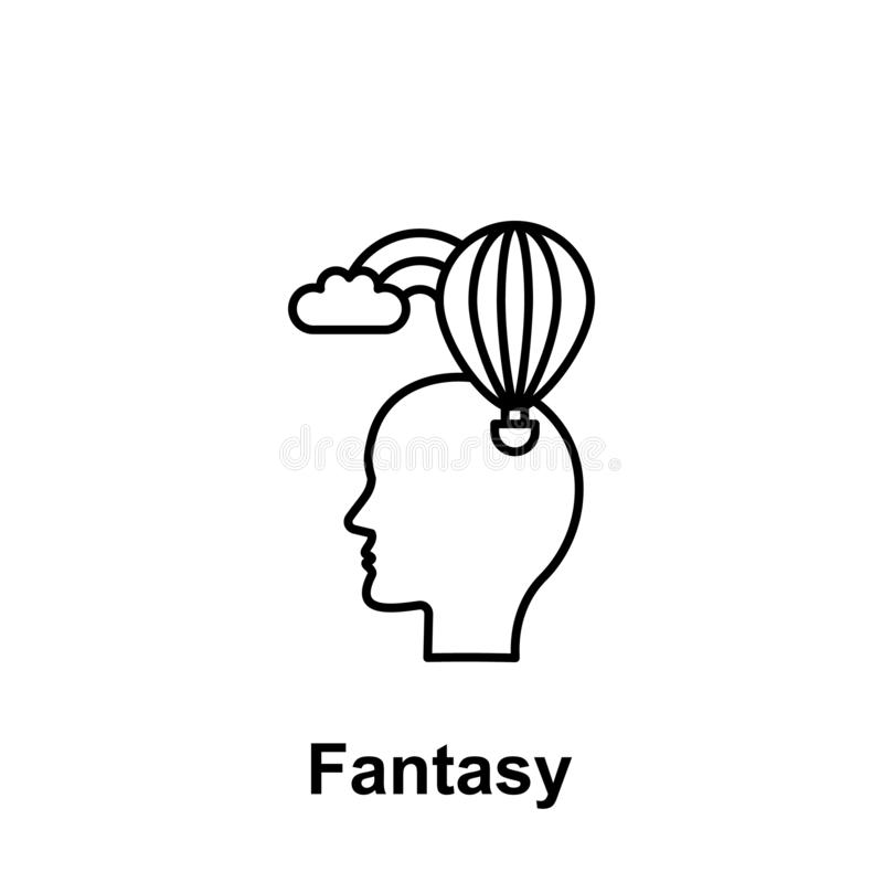 Head, balloon, cloud icon. Element of creative thinkin icon witn name. Thin line icon for website design and development, app royalty free illustration