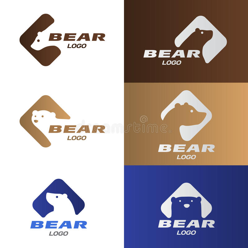 Head Bear in diamond with rounded corners logo vector set design stock illustration
