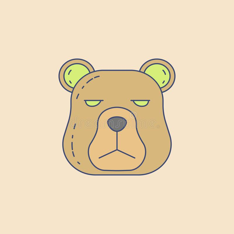 the head of a bear field outline icon. Element of outdoor recreation icon for mobile concept and web apps. Field outline the head stock illustration