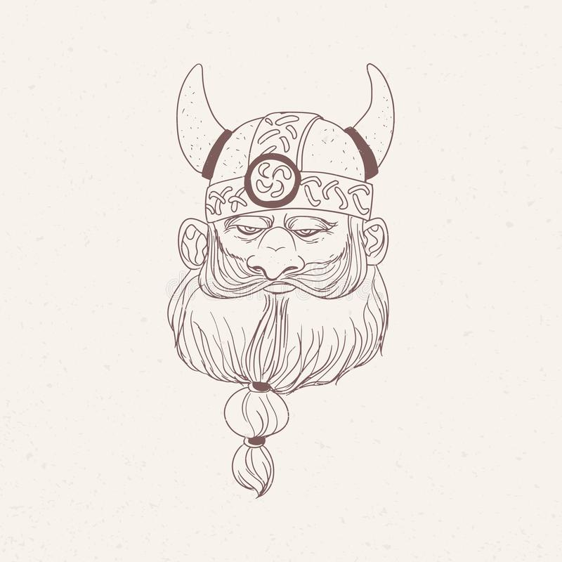 Head of bearded viking or Nordic warrior wearing horned helmet hand drawn with outlines on light background stock illustration