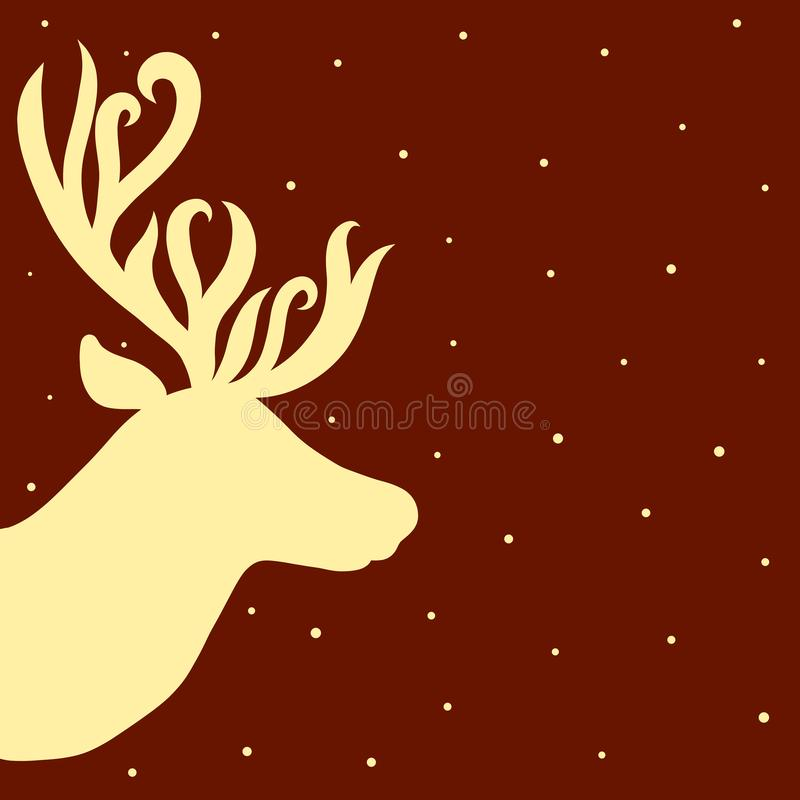 The head of a beautiful deer with elegant horns, snow or starry vector illustration