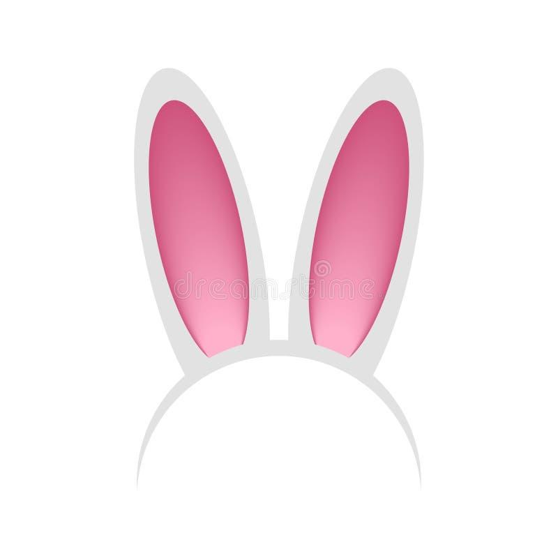 Head beslag med kanin- eller hareöron Huvudbindel - kaninmaskering för beröm, parti, festival, påsk vektor vektor illustrationer