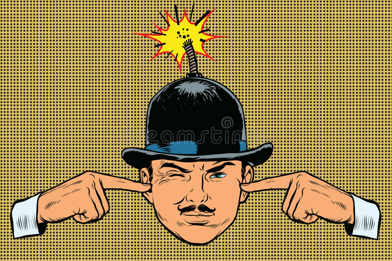 Head bomb, the concept of a terrorist and spy royalty free illustration