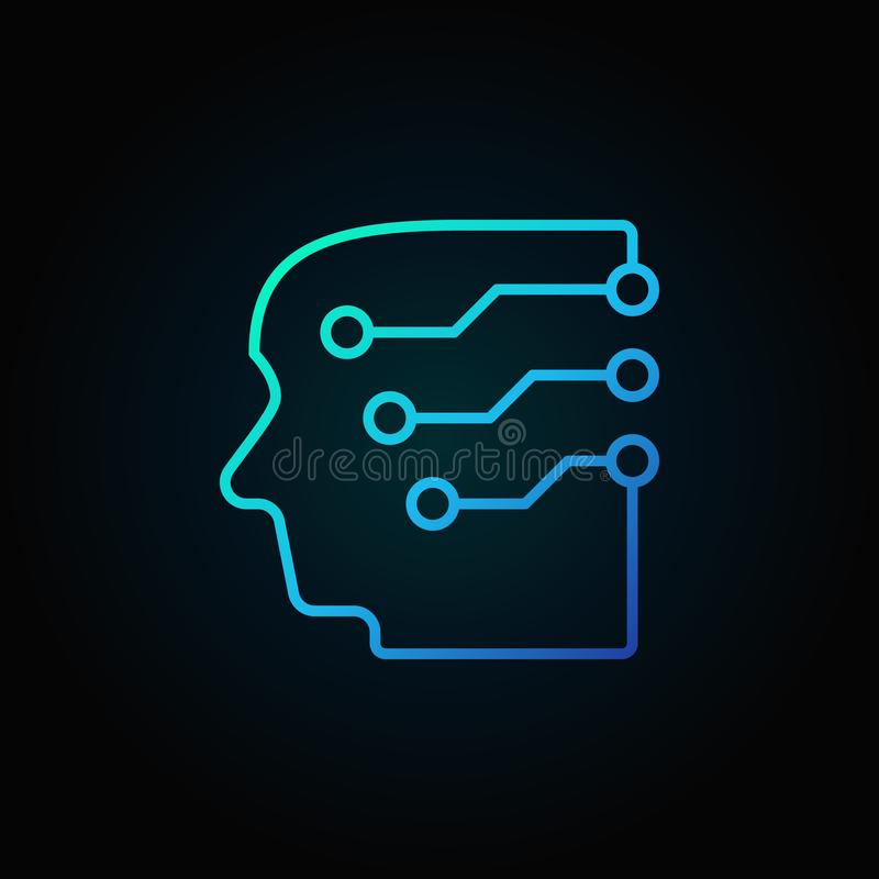 Head with a brain as circuit board blue vector outline icon vector illustration