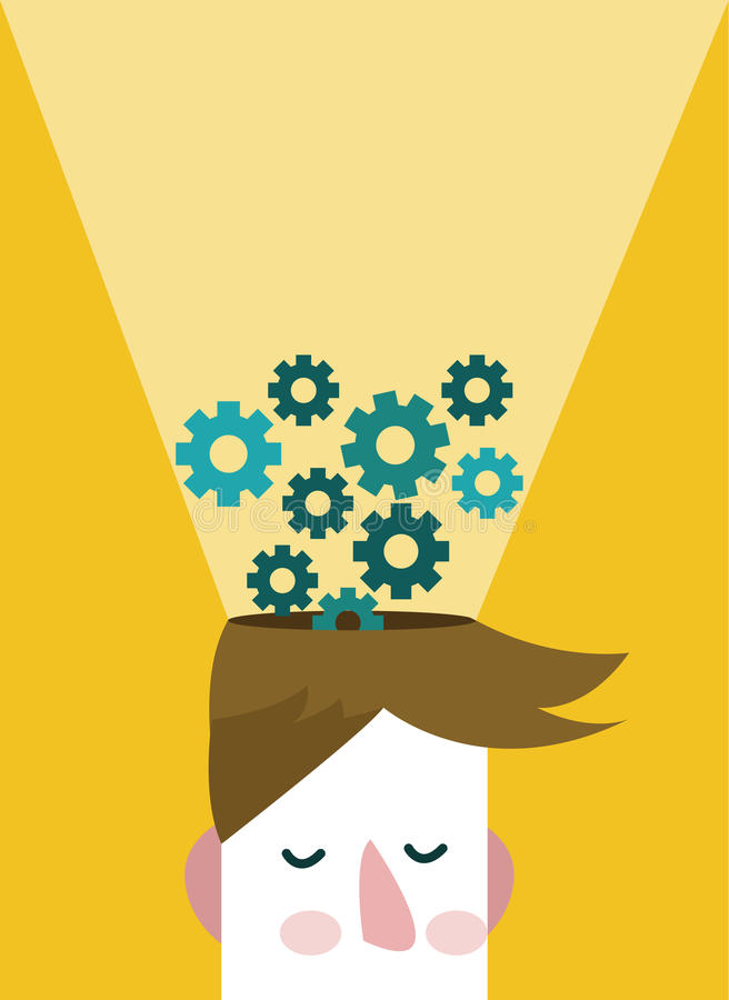 Head and Brain Gears in Progress. royalty free illustration