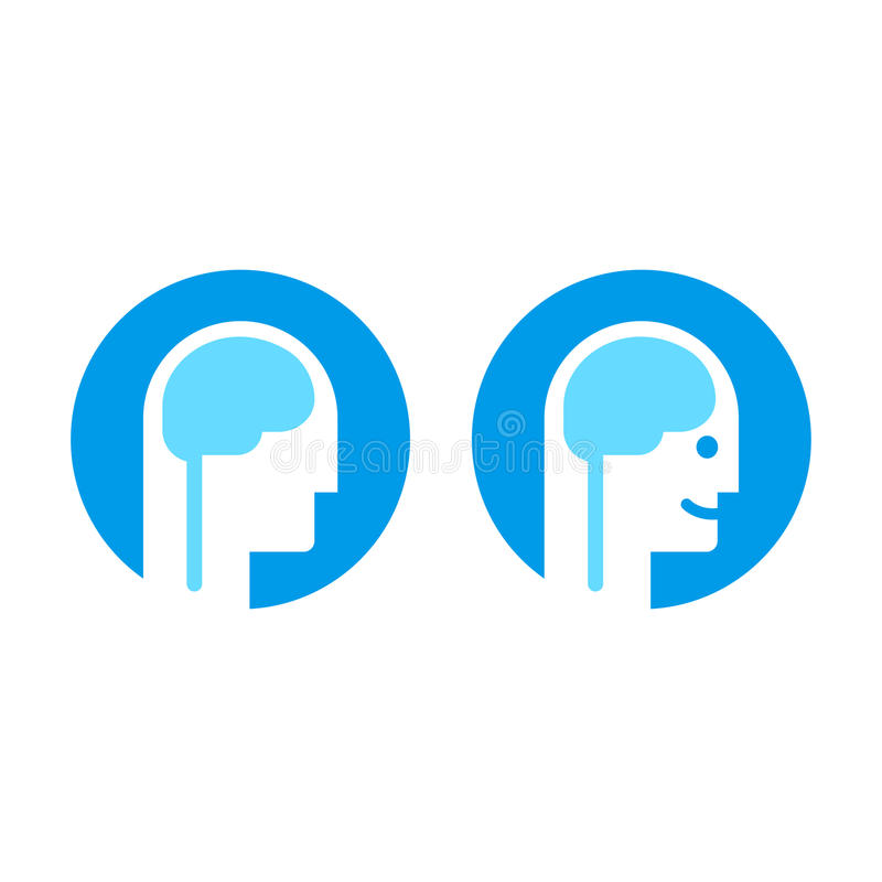 Head with brain icon stock illustration