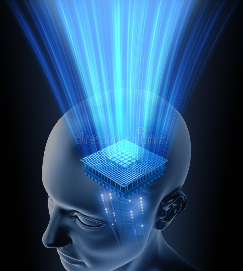 Head Brain Processor. Concept of thinking. Your brain is your processor. You can put your text on the rays stock illustration
