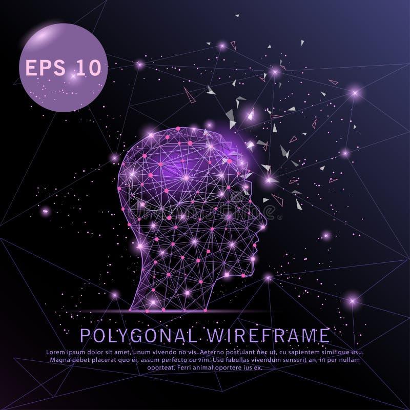 Head with brain purple background futuristic wire frame. stock illustration