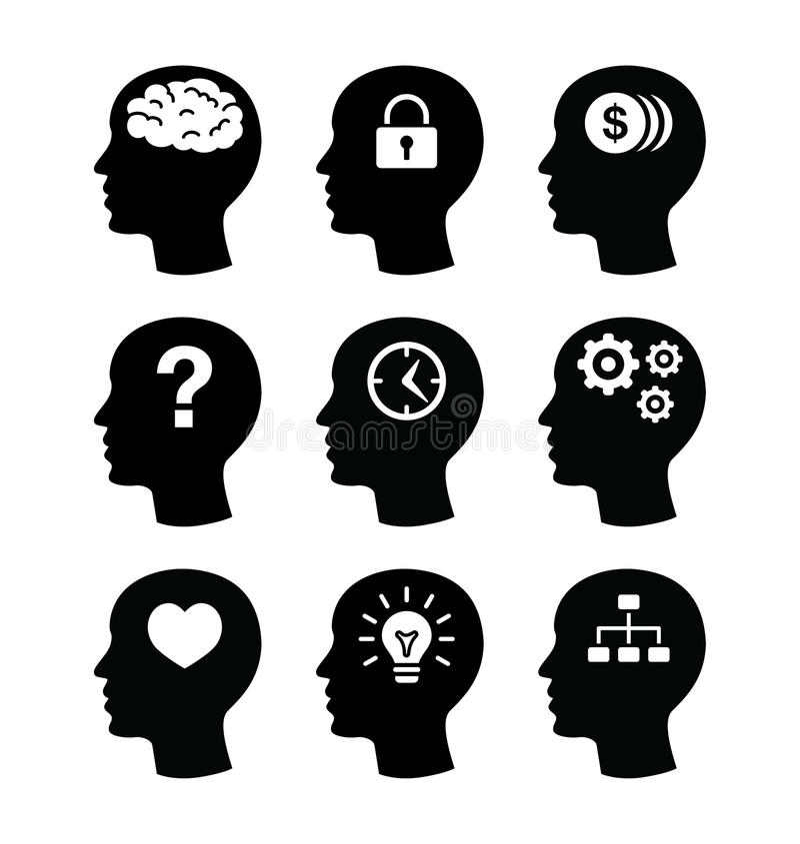 Head brain vecotr icons set stock illustration