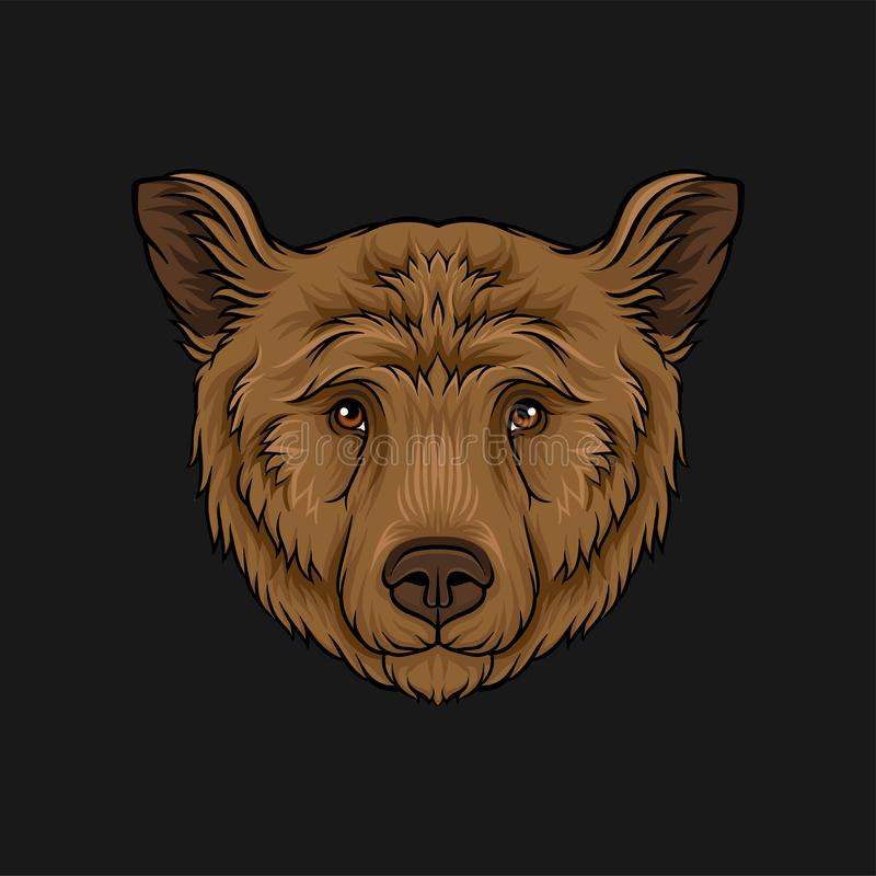 Head of brown bear, face of wild animal hand drawn vector Illustration stock illustration
