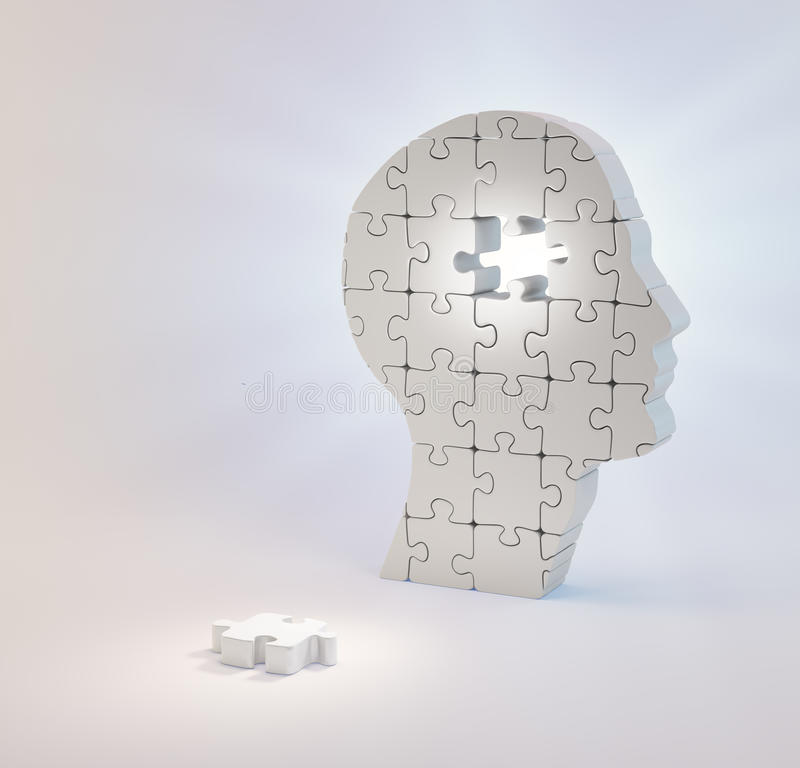 A head build out of puzzle pieces missing a single piece stock image