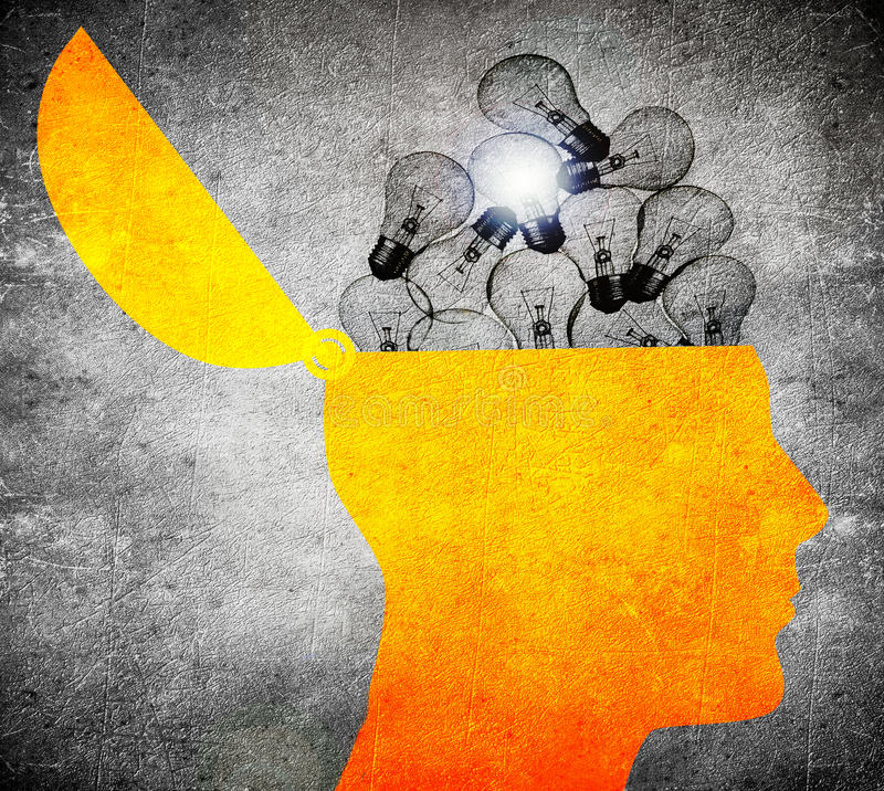 Head with bulbs digital iluustration. High qyality head with bulbs digital iluustration royalty free illustration