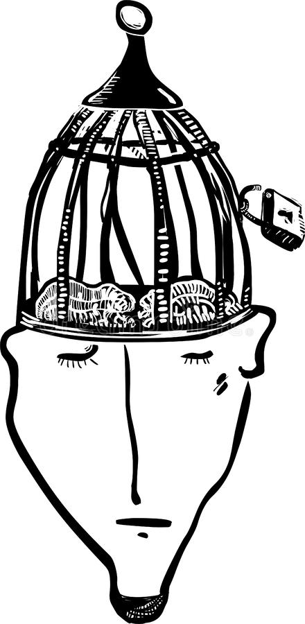 Head-cage person graphic illustration. Head-cage person. Freedom of the mind concept vector illustration