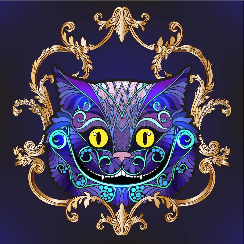 The head of the Cheshire cat from the fairy tale Alice in Wond. Erland with decorative pattern and frame. Stock line vector illustration vector illustration