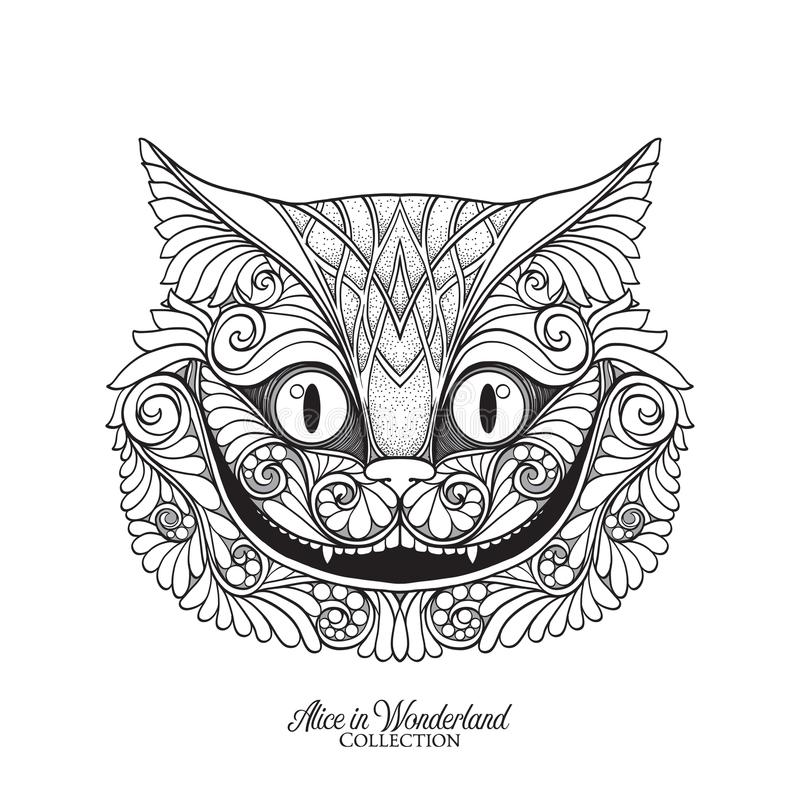 The head of the Cheshire cat from the fairy tale Alice in Wonde. Rland with decorative pattern . Vector illustration. Outline hand drawing coloring page for the vector illustration