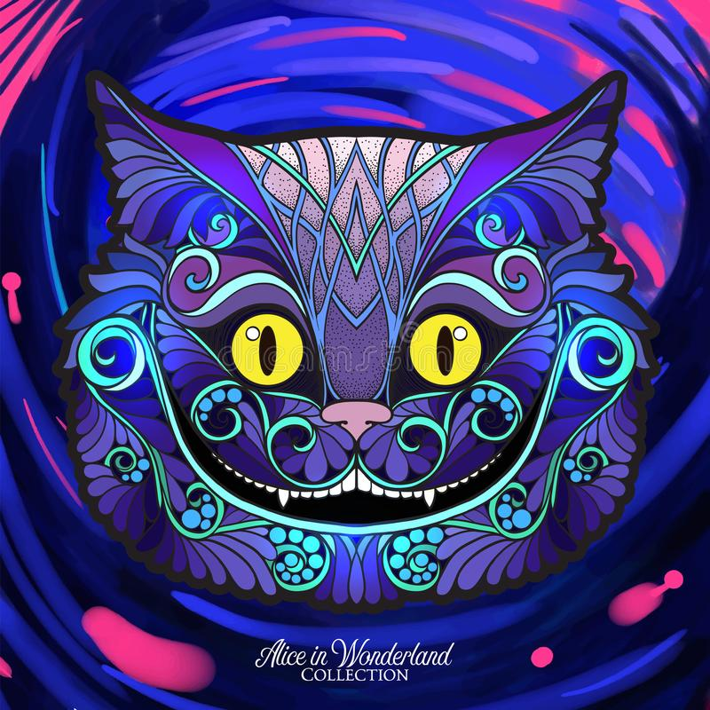 The head of the Cheshire cat from the fairy tale Alice in Wonde. Rland with a decorative pattern with watercolor background. Stock line vector illustration stock illustration