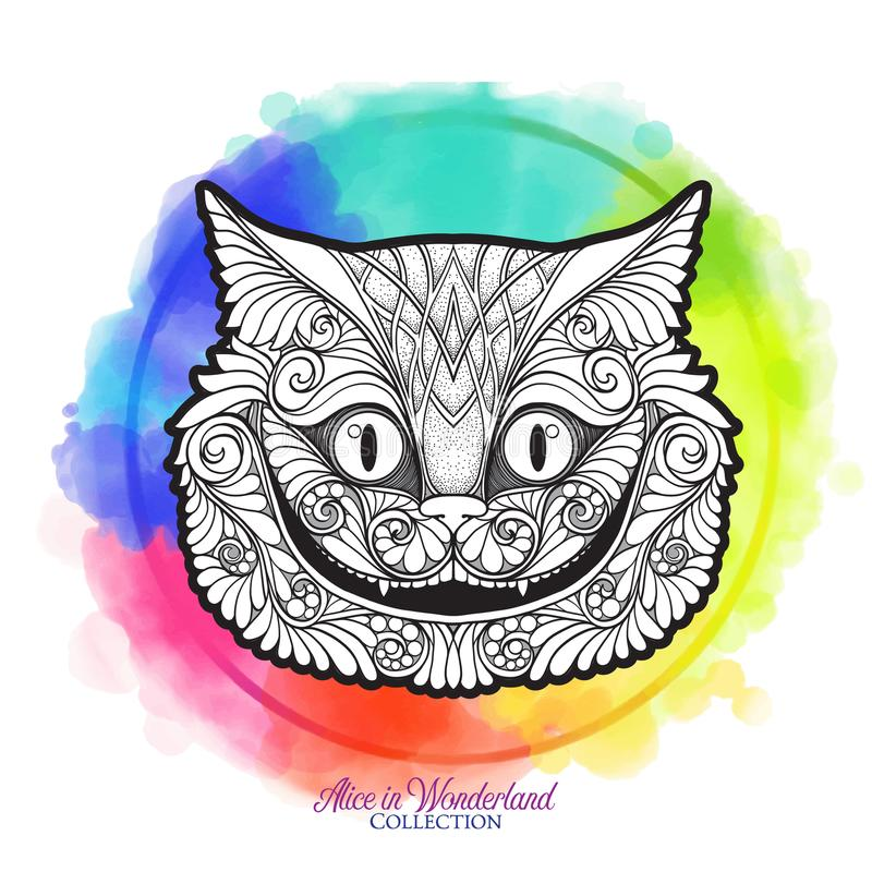 The head of the Cheshire cat from the fairy tale. With a decorative pattern with watercolor background. Stock line vector illustration vector illustration