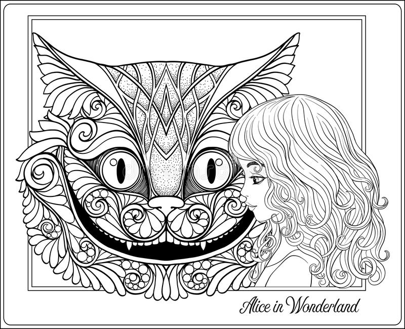 The head of the Cheshire cat and girl from the fairy tale Alice. In Wonderland Outline hand drawing coloring page for the adult coloring book. Stock line vector stock illustration