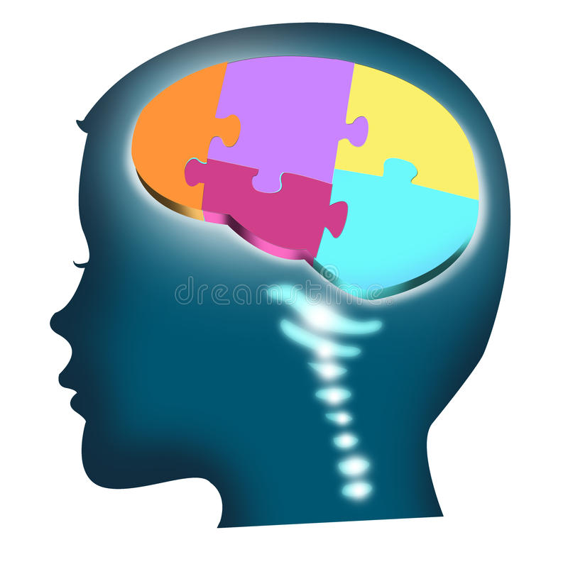Head of a child with puzzle brain. isolated royalty free illustration