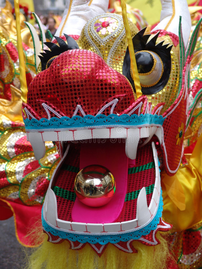 Head of Chinese Dragon dancing royalty free stock photo