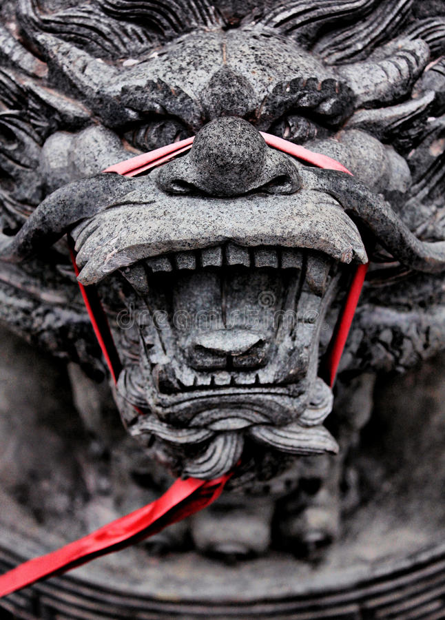 Head of Chinese Dragon. This is one of the statues that I photograph in one of the monastery in the city of Semarang, Central Java. Chinese Dragon is a creature royalty free stock photo