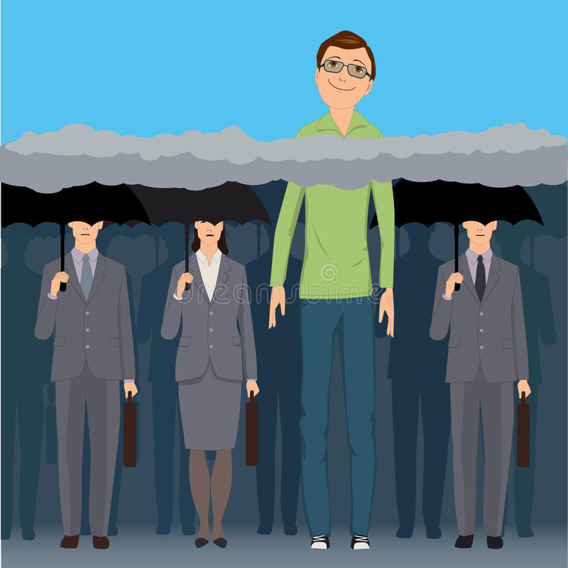 Head in the clouds. A very tall smiling man standing an a crowd of faceless business people under black umbrellas, his head is above the clouds, vector vector illustration