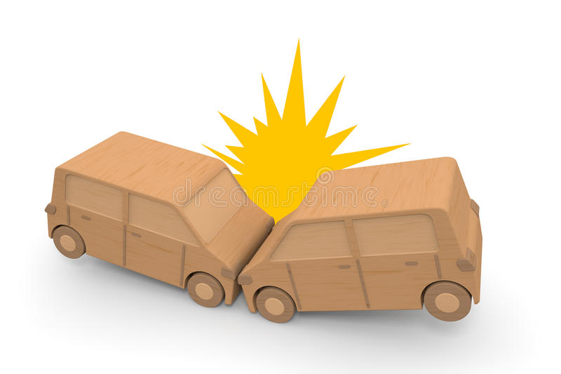 Head-on collision accident. Cause an accident with dangerous driving. Hit from the front. Be upset. Panic. Operation of the forward carelessness. Cause property royalty free illustration