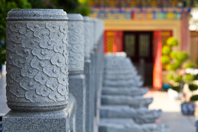 A head of column chinese style. In chinese temple Thailand stock photos