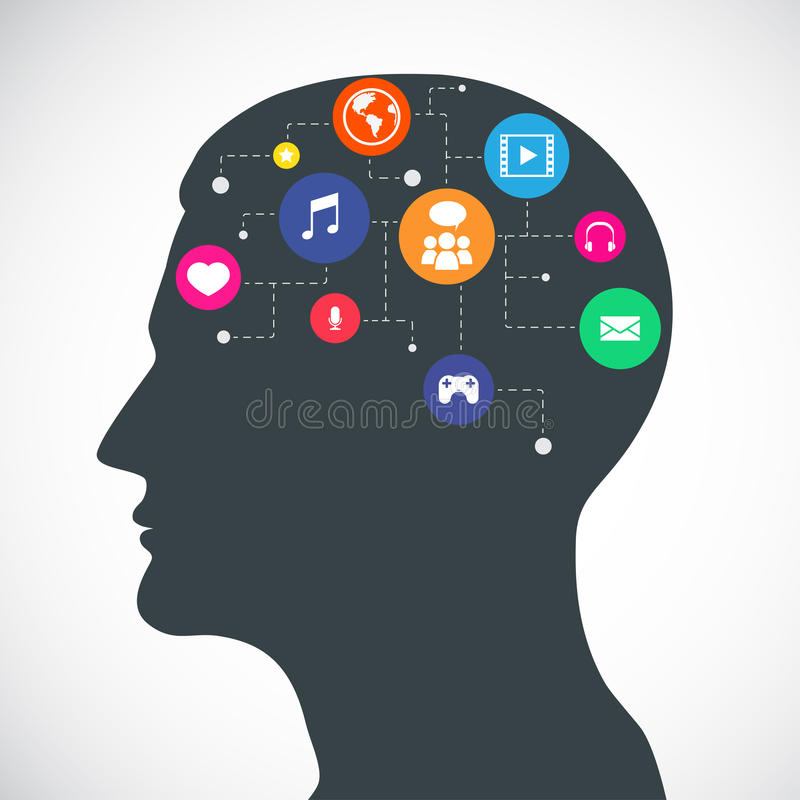 Head of Communication and Media Flat Icons royalty free illustration
