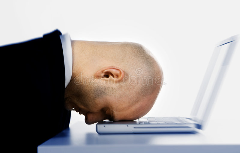 Head on computer stock photography
