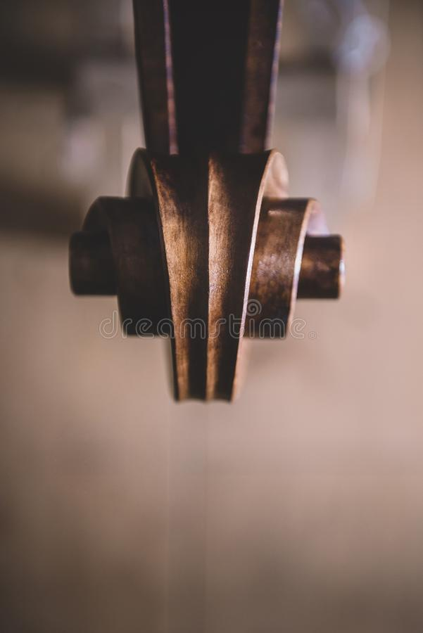 Head of a contrabass under construction royalty free stock photo