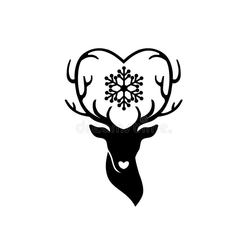 Head of deer with antlers love. Deer love alters logo concept,,stag alters with love logo stock illustration