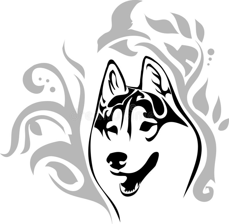 Head dog breed Siberian Husky with a pattern stock illustration