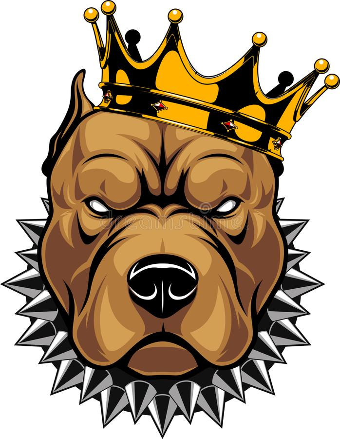 Head of a dog in the crown stock illustration