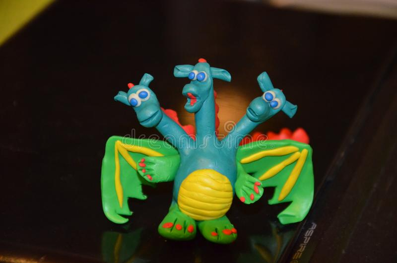 3-head dragon from plasticine stock photography