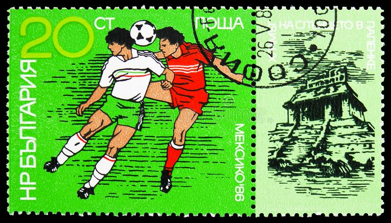 Head duel, Appendage: Little Sun Temple, Palenque, World Cup Football serie, circa 1986. MOSCOW, RUSSIA - MARCH 23, 2019: Postage stamp printed in Bulgaria shows stock image