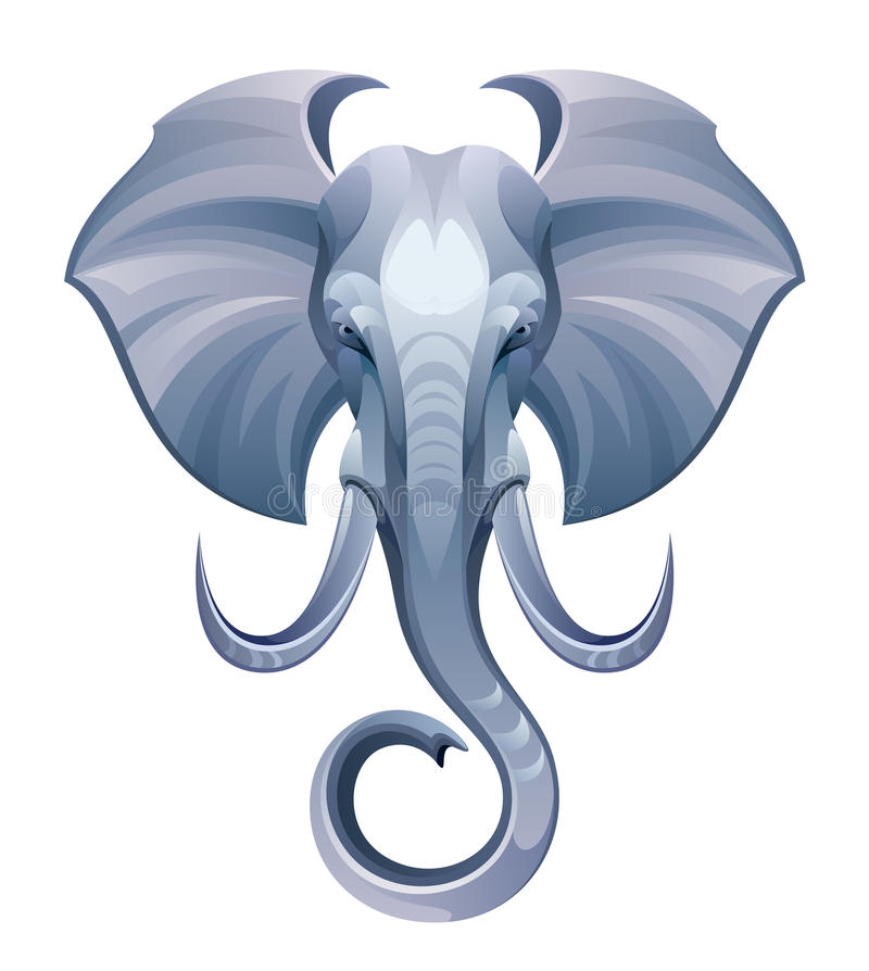 Head elefant royaltyfri illustrationer