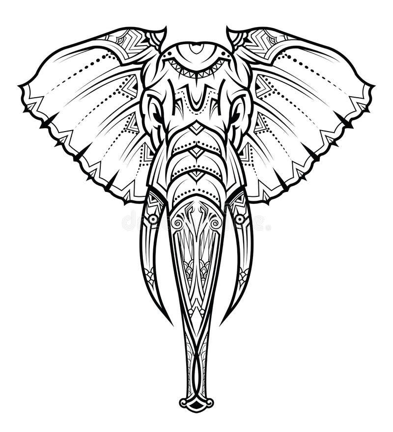 Head of elephant in the ornament. Vector illustration. stock illustration
