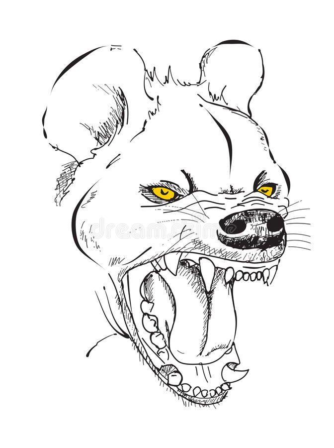 The head of the evil hyenas. Hyena's head with a grinning mouth, graphic sketch vector illustration