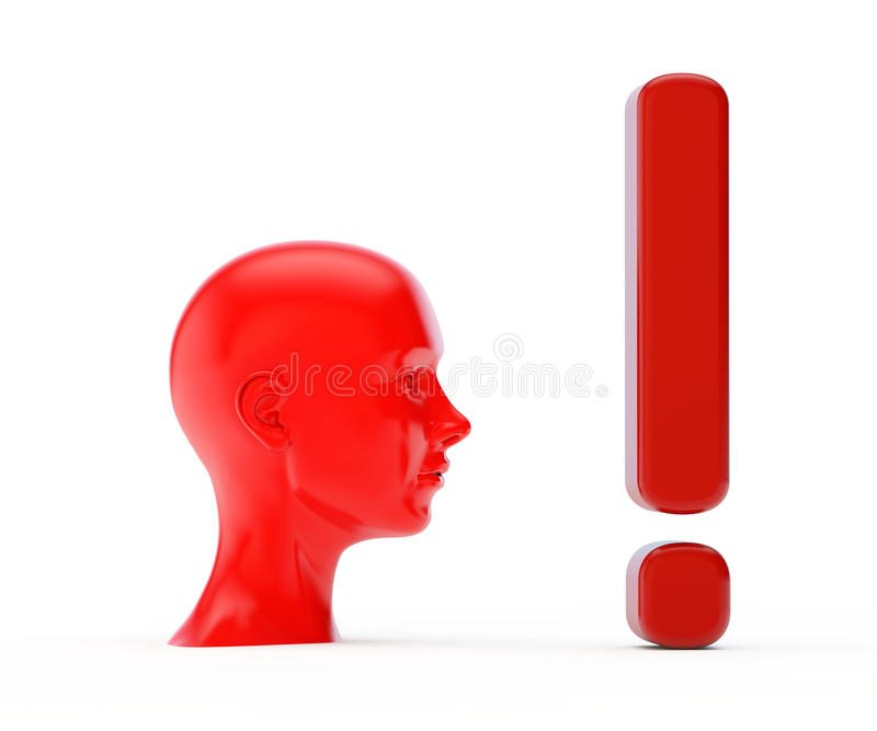 Head and exclamation royalty free stock image