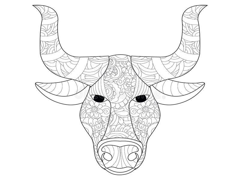 Head färgläggningvektor för ko för vuxna människor royaltyfri illustrationer