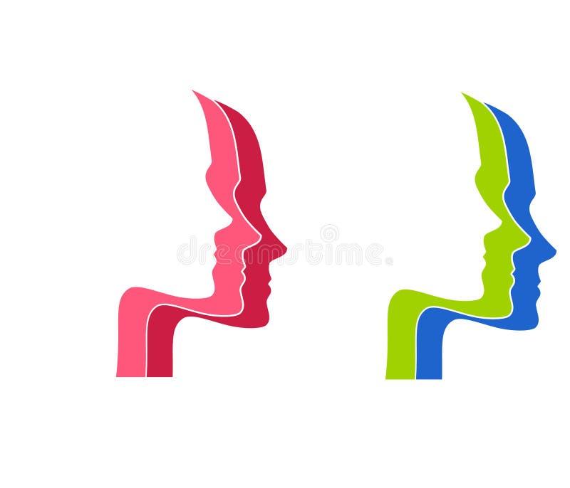 Head Face Profile Silhouettes stock illustration