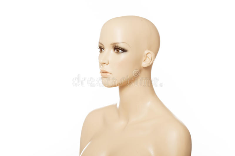 Head of a female mannequin in profile isolated on white stock photos