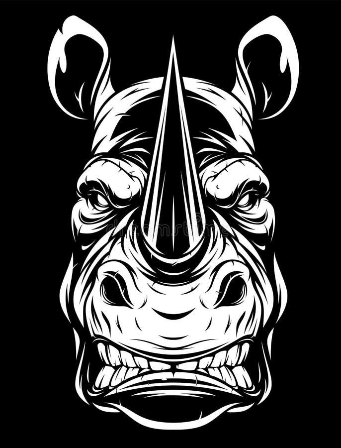 Head of a ferocious rhino stock photos