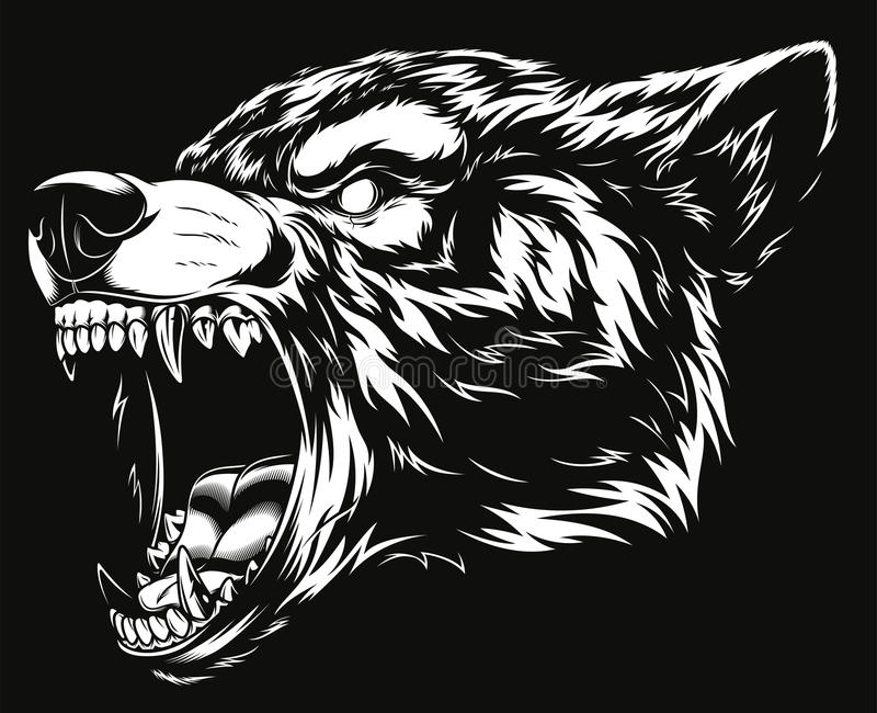 Head of the ferocious wolf stock illustration