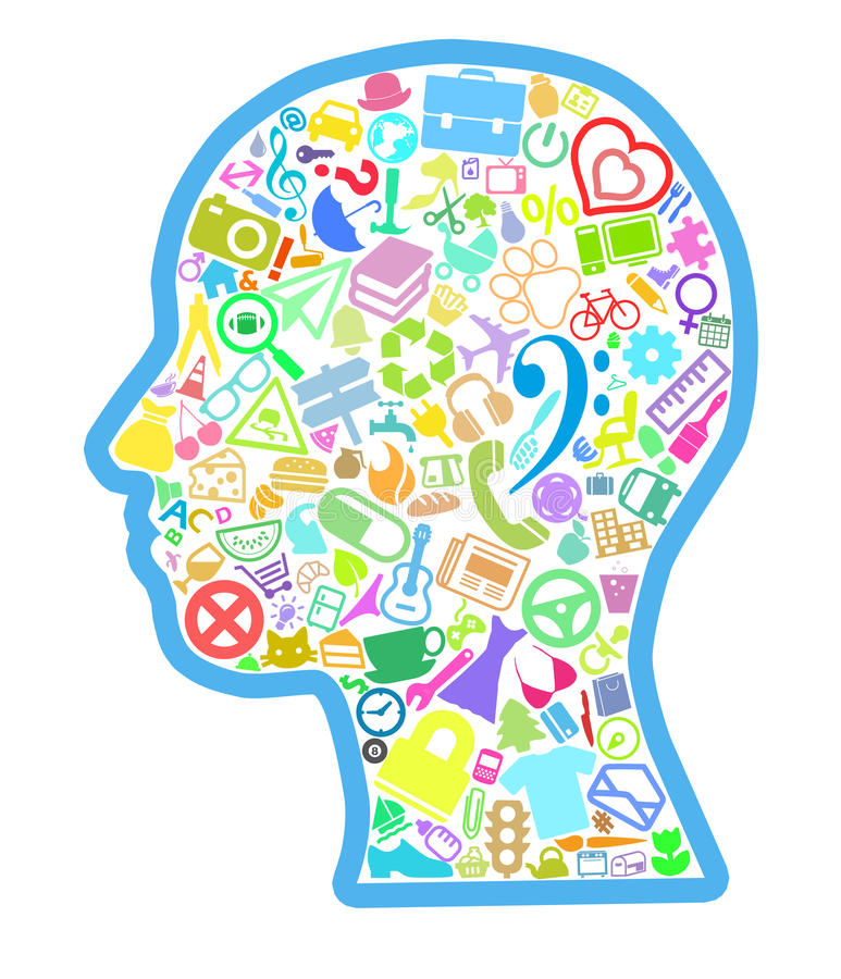 Head filled with various thematic symbols. Abstract Human Head filled with various thematic symbols stock illustration