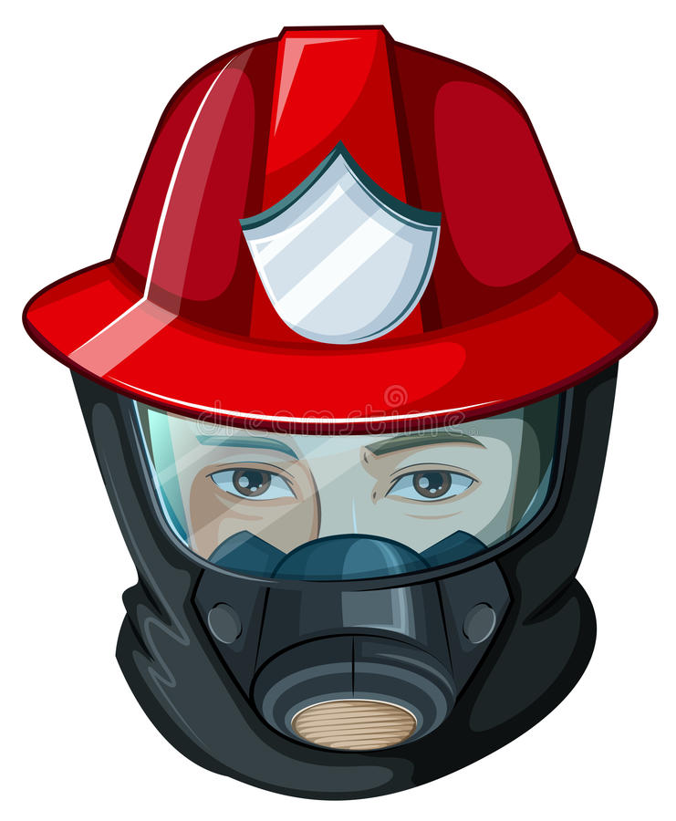 A head of a fireman royalty free illustration