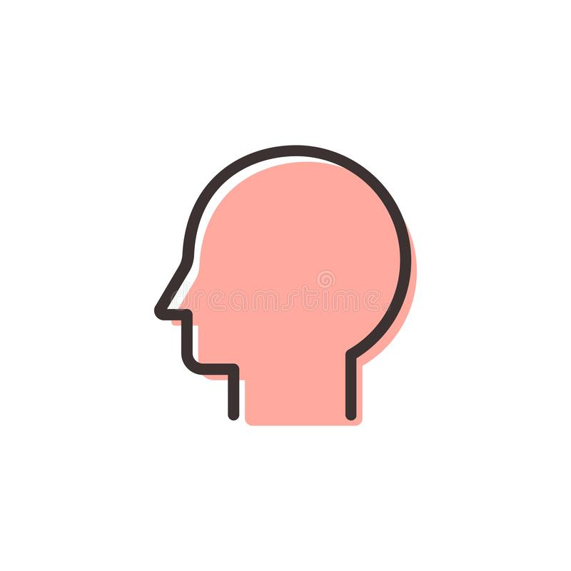 Head flat outline icon. On transparent background vector illustration