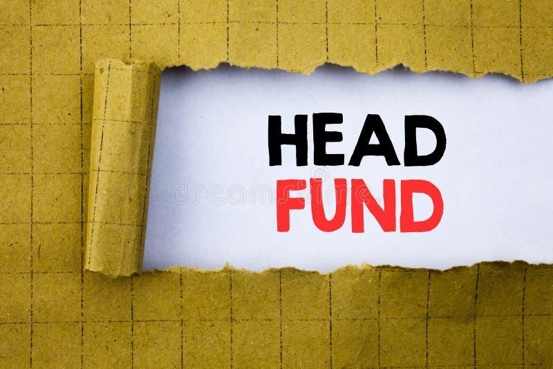 Head fond Affärsidéen för investeringfinansieringpengar som var skriftliga på vitbok på gulingen, vek papper royaltyfri bild